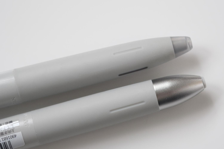 ゼブラのブレン3C多色ボールペンを通常のブレンのグレーと比較(グリップ部分)