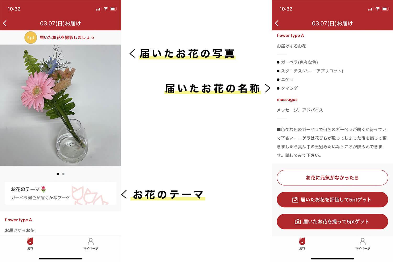 bloomee(ブルーミー)のアプリで届いたお花の詳細がチェックできる