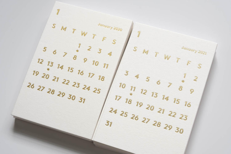 JACKAL(ジャッカル)クララカレンダー 2021年ホワイトと2020年ホワイトのリフィル比較(アップ)