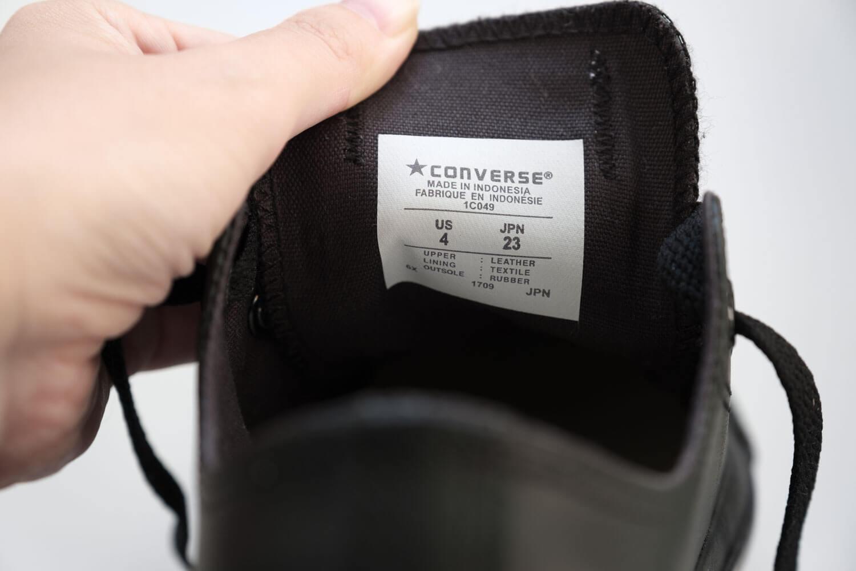 コンバース オールスター OX レザー ブラックモノクロームの製造国はインドネシア