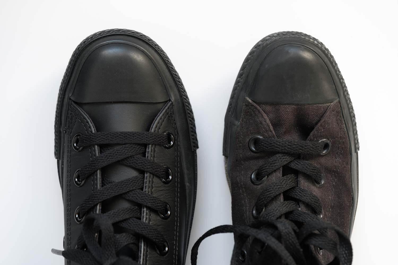 キャンバスのブラックモノクロームとレザーのブラックモノクロームの比較