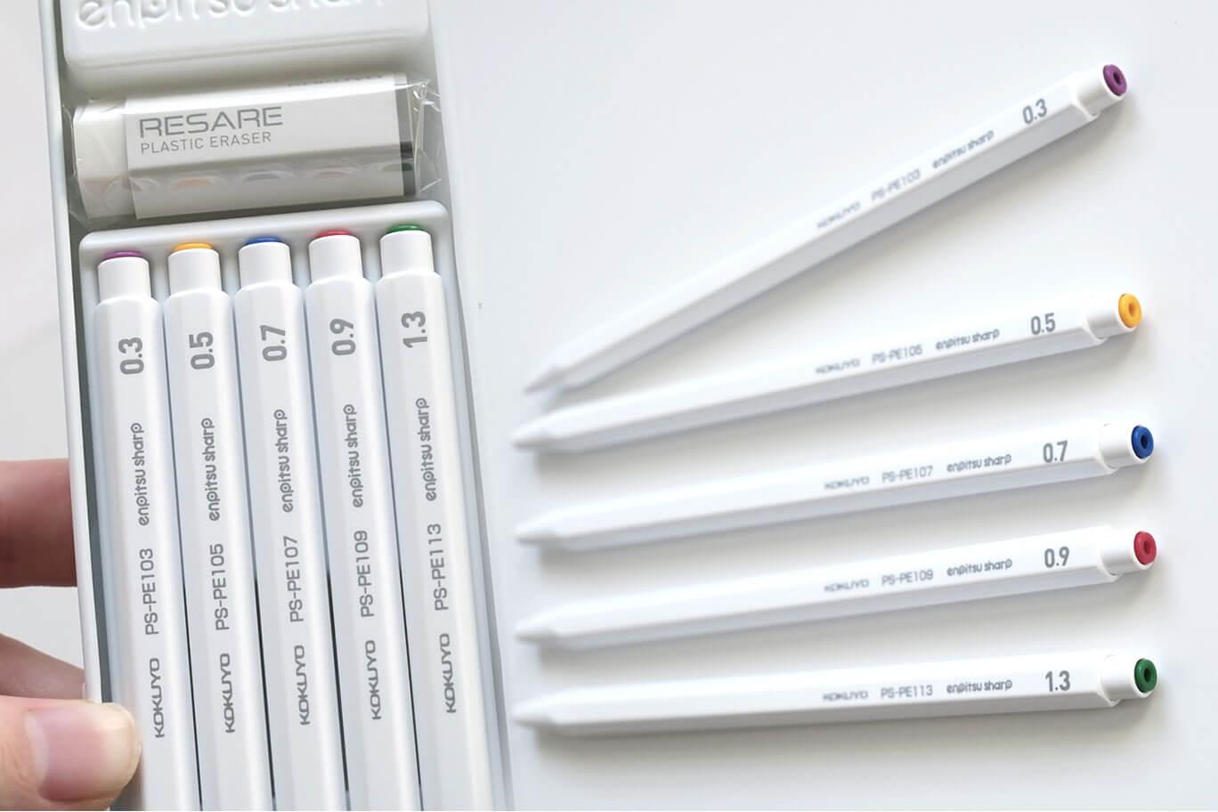 コクヨの鉛筆シャープが鉛筆みたいでかわいい!太さによって先の色が違うのがポイント【レビュー】