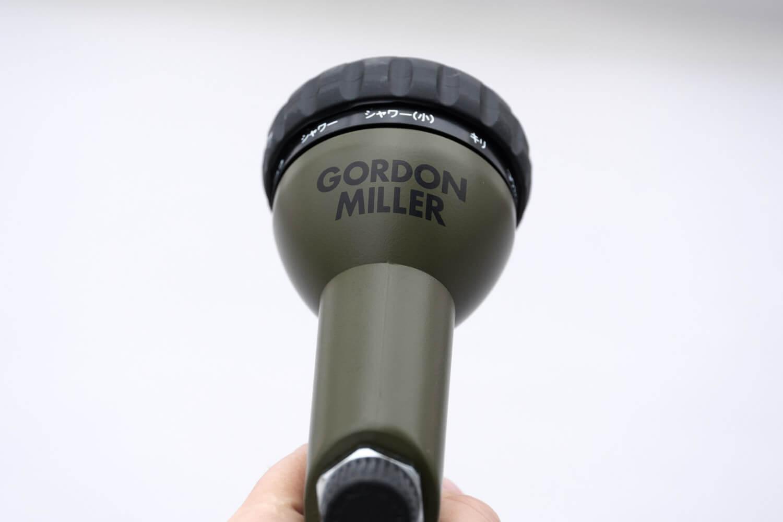ゴードンミラー(GORDON MILLER)のホースリール オリーブカラーのノゾル部分にもロゴがあります