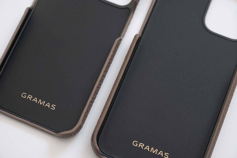 GRAMAS iPhone12 miniケース シュランケンカーフ トープカラーと11Proの側面部分