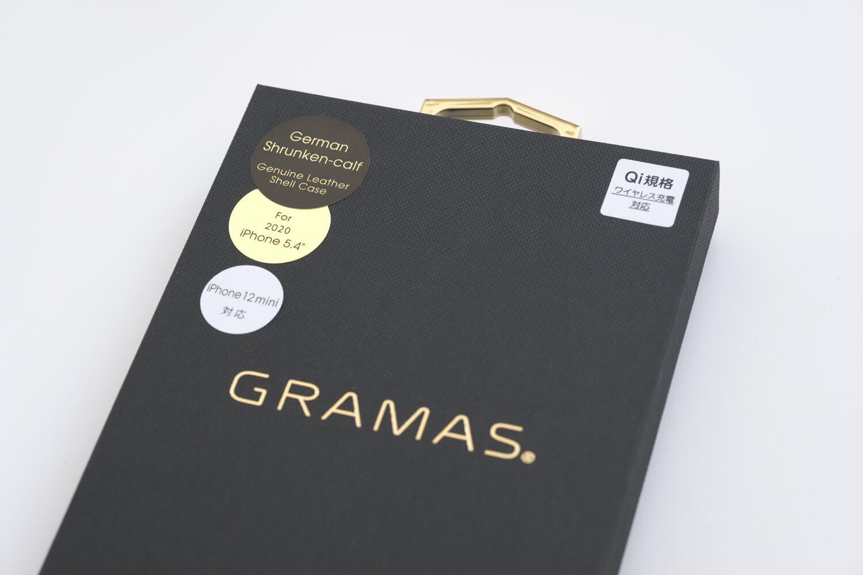 GRAMAS iPhone12 miniケース シュランケンカーフ トープカラーの箱の素材感