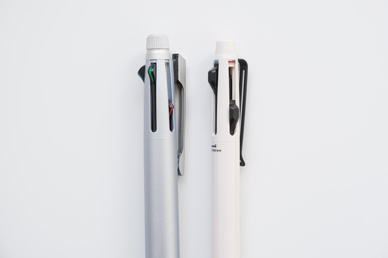 ジェットストリームプライム3色ボールペン ベージュ(SXE3330005.45)とジェットストリームメタルのノック部分比較