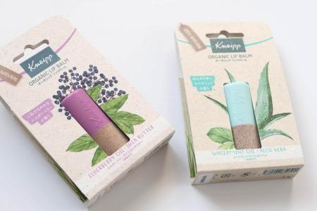 クナイプ(Kneipp)リップバームのパッケージには草パルプが使用されています