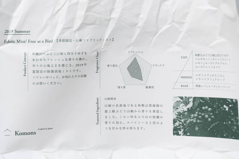 Komons(コモンズ)ファブリックミスト 除菌消臭スプレー 2019年夏山椒ファブリックミストの説明