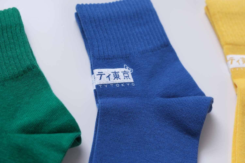 靴下屋サンリオコラボボックスロゴアメリブショートソックスの素材感