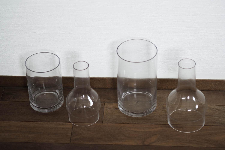 スパイスのラボグラス(LABO GLASS)フラワーベースを別のパーツに分けたところ