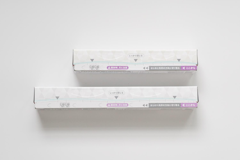ロハコオリジナルの暮らしになじむ デザインパッケージのサランラップは説明部分も落ち着いたカラーを使っています