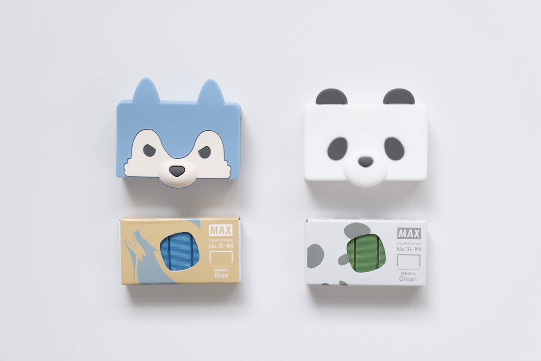 マックス ホッチキス針 シリコンカバー ケース付き りくちのいきもの(オオカミとパンダ)