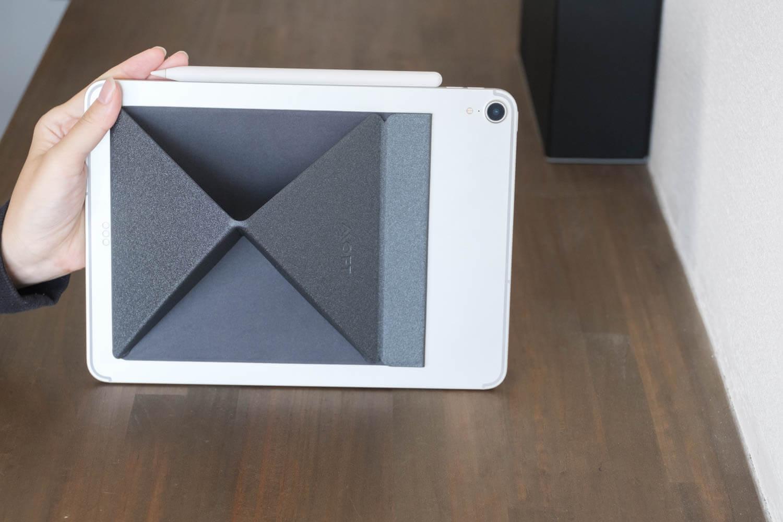 MOXT Xタブレットスタンドを30度にした場合の裏側を見たところ