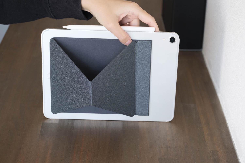 MOXT Xタブレットスタンドを40度にした場合の裏側を見たところ