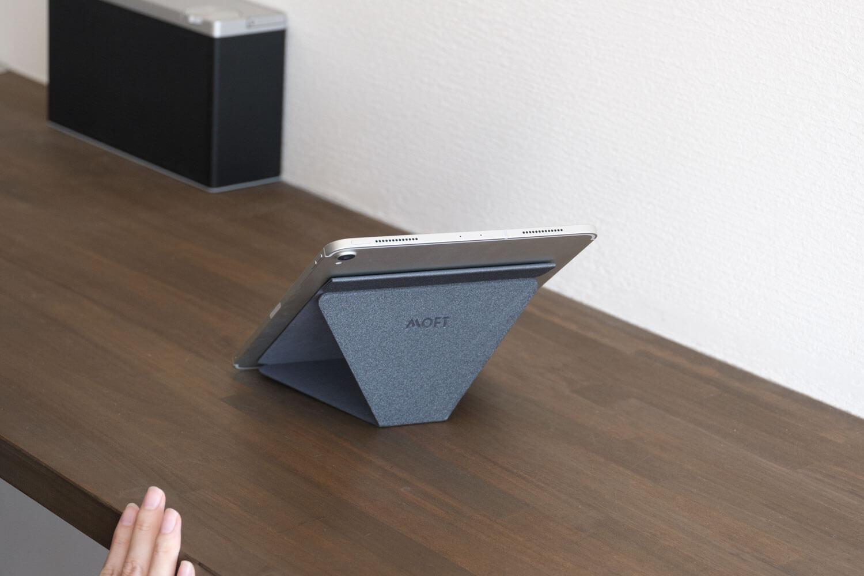 MOFT Xタブレットスタンドを縦置き40度にした場合の裏側
