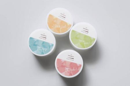NATUXIA パックスナチュロンハンドクリーム シェアはピンク(無香料)・ブルー(ハーバル&ブルー)・イエロー(イランイラン&ミュゲ・グリーン(ラベンダー&ゼラニウム)
