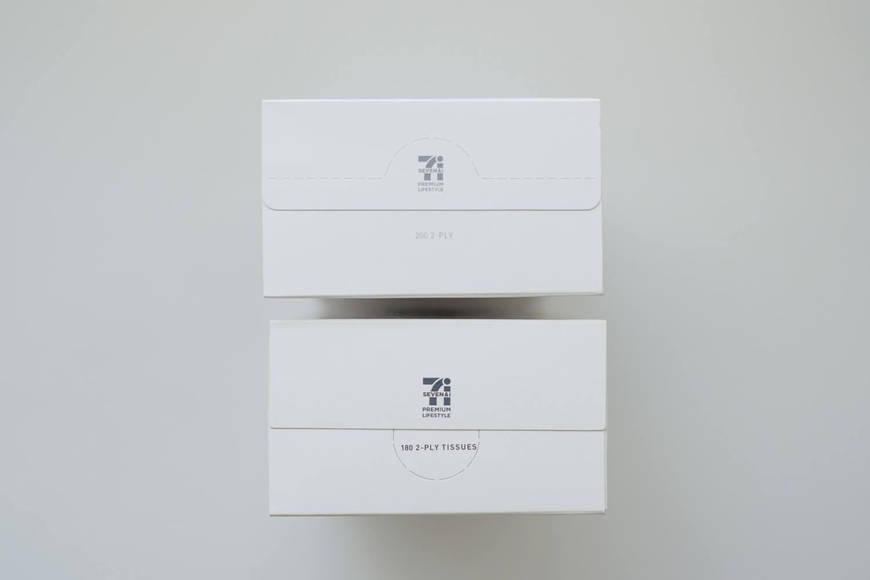 セブンプレミアム ふんわりティシュー ボックス比較 プリントが薄めのグレーに サイド
