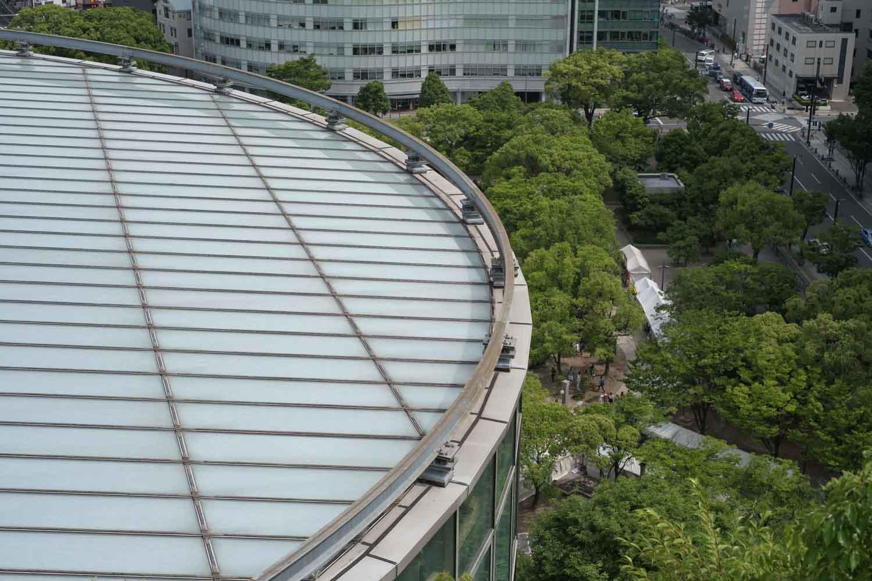ガラス張りの部分の屋根