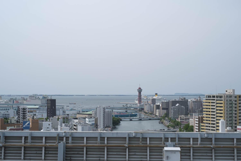 屋上についたー!福岡が見渡せるよ
