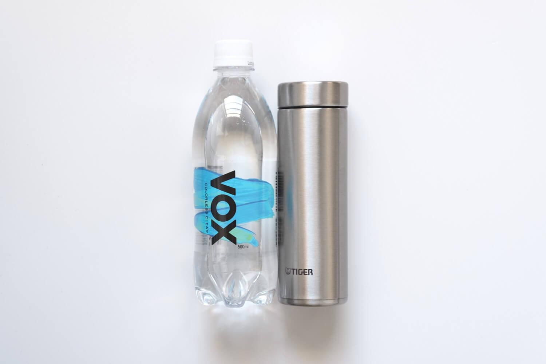 タイガー魔法瓶  ステンレスミニボトル サハラマグ 0.3L 東急ハンズ限定カラーとペットボトル500mlの大きさ比較