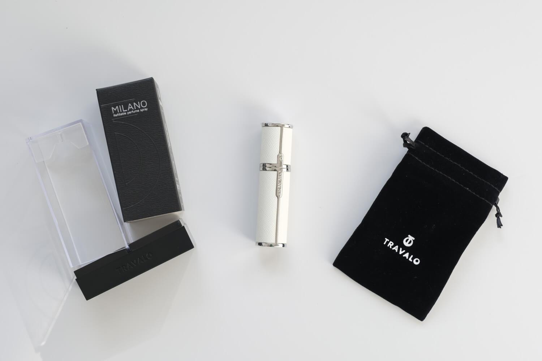 TRAVALO(トラヴァーロ)の香水アトマイザー ミラノ(ホワイト)の付属品と本体
