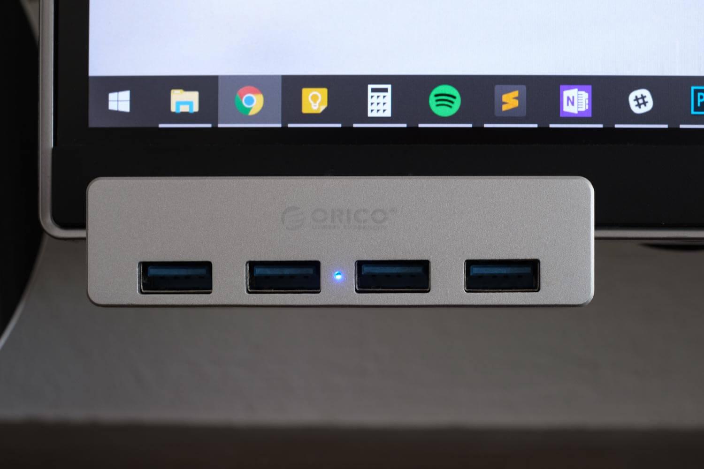 クランプ型USBハブ 正面から見ると